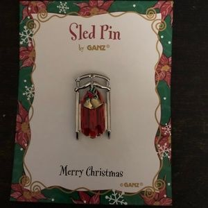 NOC Ganz Holiday Red and Gold Sled Broach *HOL44*